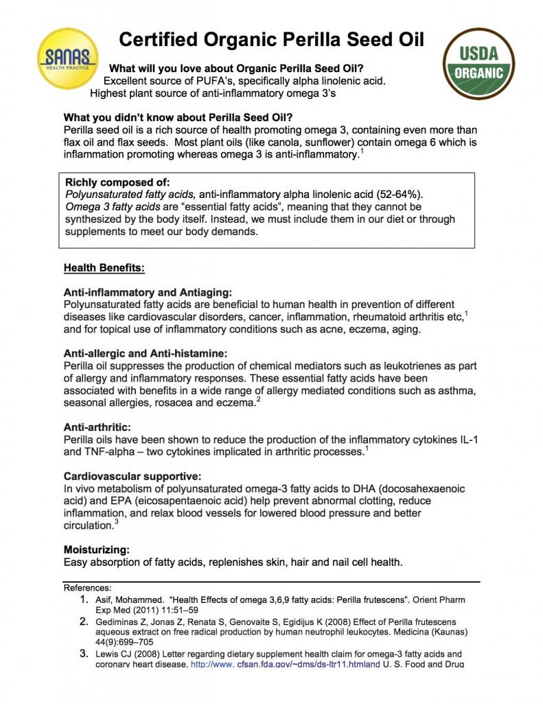 Perilla Seed Oil handout